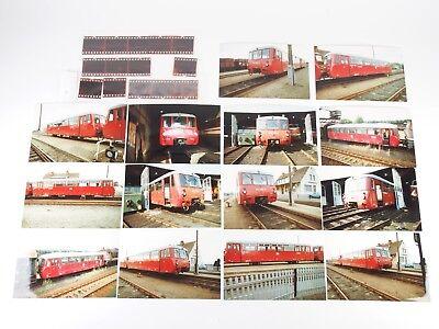 """14 Fotos 10x15 mit Negativen - Schienenbus BR 972 DR - Seddin u.a. 1992 """"Xad13"""