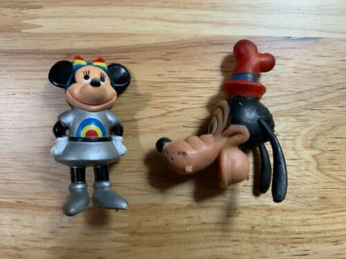 Vintage Disney Space Minnie Mouse Toy Figurine & Goofy Eraser Made in Hong Kong