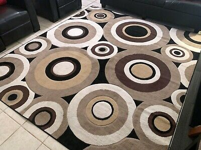 At Home Contemporary Area Rug - Geometric Circles - Beige - 8x9 - Good Condition