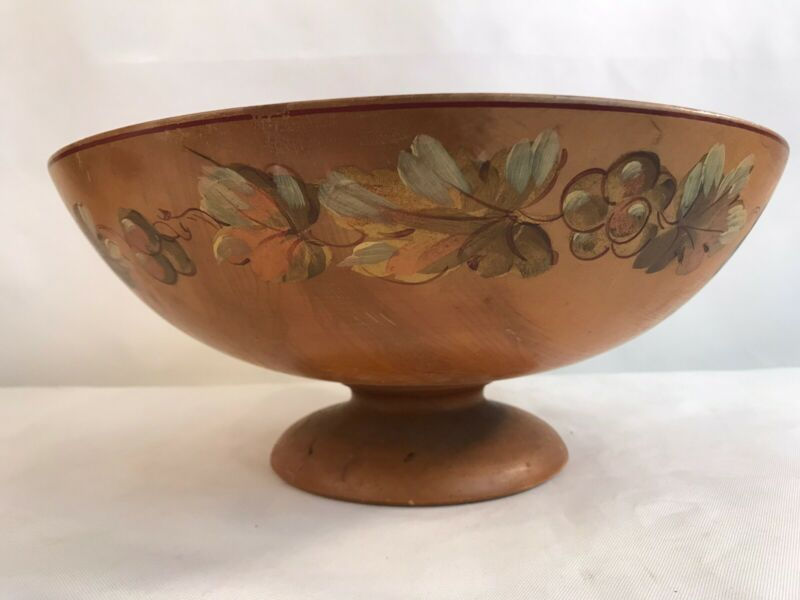 """Vintage Large Robinhood Ware Hand Painted Wooden Bowl 13"""" (A4)"""