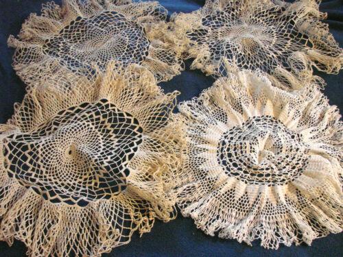 """Vintage Crochet Doily Round LOT 4 Cotton Lace Ruffles 18"""""""