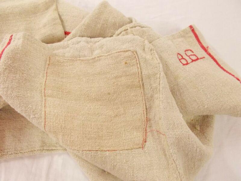 Vtg Antique RED STRIPE MONOGRAM HEMP LINEN Fabric FEED SACK GRAIN BAG 55X20