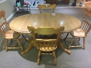 Free Solid wood table, glass cover, 4 chairs