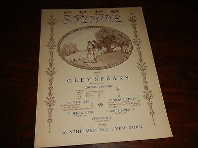 1941 SYLVIA Song by Oley Speaks Soprano/Alto Vocal Duet Piano Acc SHEET (Pop Soprano Sheet Music)