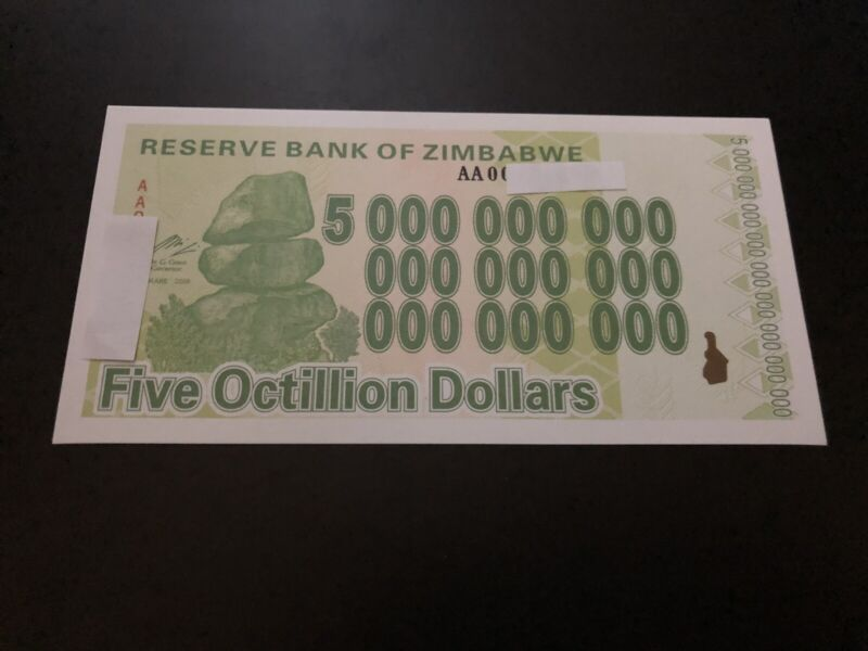 Zimbabwe 5 Octillion Dollars Banknote/Not Real Money/Fantasy Note