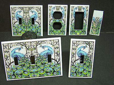 STAINED GLASS PEACOCK FLORAL IMAGE #1 LIGHT SWITCH COVERS PLATE AND OUTLETS  1 Light Switch Covers