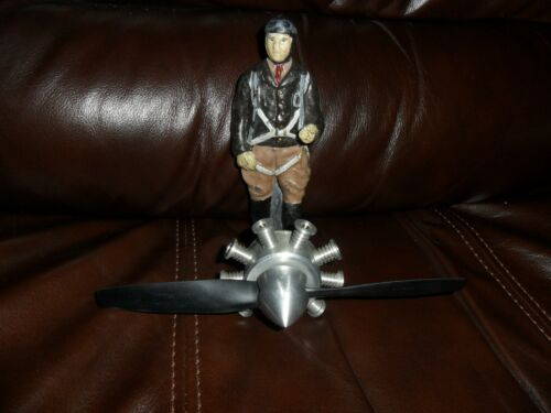 VINTAGE HOOD ORNAMENT MASCOT CAST IRON FIGHTER PILOT & PROPELLER CUSTOM FOLK ART