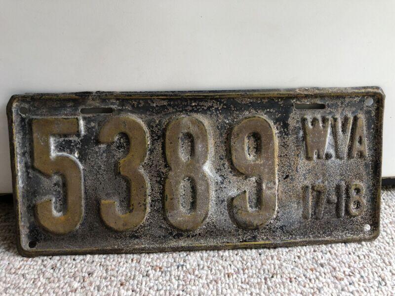Vintage 1917-1918 West Virginia License Plate