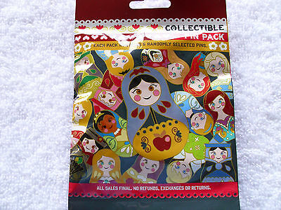 Disney * NESTING DOLLS * New & Sealed * 5-pin Collectible Mystery Pin Pack