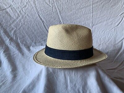 J Crew Mens Packable Panama Hat Paper Straw Beige/Black Size M/L Used E26 SAMPLE