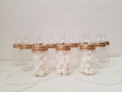 12 Gold Bottles Baby Shower Favors Princess Prince Prizes Games it's Girl or Boy