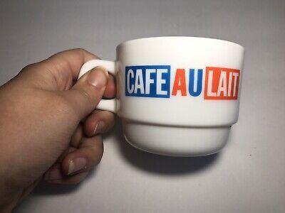 Vintage Cafe Au Lait Coffee Mug Cup Arcopal Restaurant France Milk Glass Au Lait Coffee