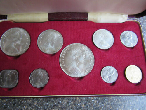 1966 Royal Mint 9 Piece Silver Coin Set Elizabeth II Bahama Island Nice Toning