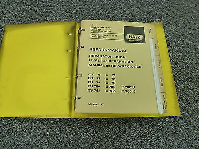 Hatz E780U ES785 E785 E785U Diesel Engine Service Repair Manual Book