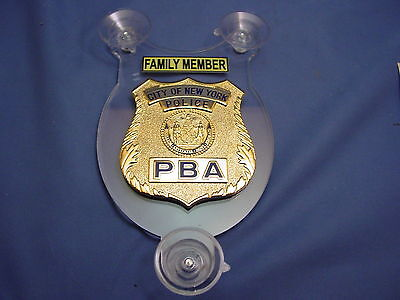 NYC NEW YORK  PBA POLICE FAMILY MEMBER  CAR SHIELD - NYPD - FOP - PBA