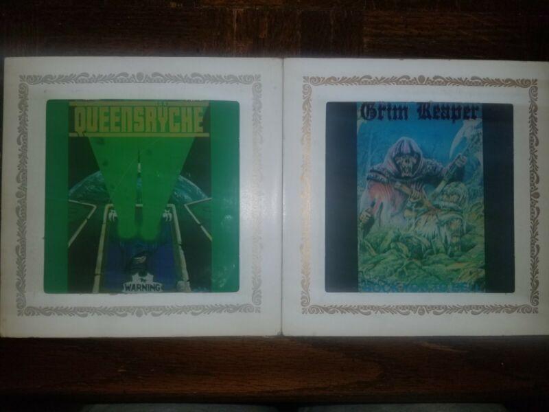 Vintage Carnival Glass Prize Mirrors – Grim Reaper & Queensrÿche 6x6 inches