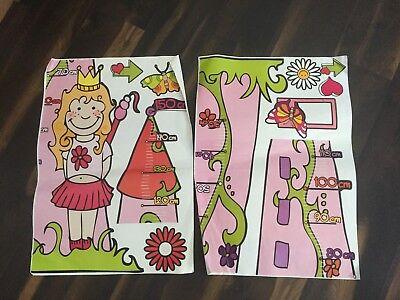 Mädchen Wandaufkleber mit Größentabelle Maßstab Kleine Prinzessin Kinderzimmer (Kinder Größentabelle)