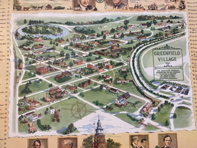 1951 Map Of Greenfield Village Edison Ford Wall Poster Hanging Old Fast Ship
