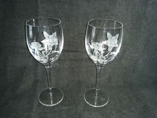 "Set of 2 Perry Coyle Etched Crystal Goblets- Columbine Flower Pattern, 9"" tall"