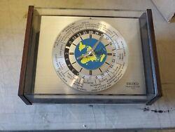 Seiko Transistor Desktop World Clock Jetliner Sec. Hand Unique Late Mid-Century