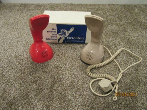60s Mid-Century Modern 2 Interchangeable Red & Tan Covers ERICOFON Telephone