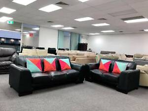 DELIVERY TODAY BLACK GENUINE LEATHER 3X2 Sofas set QUICK SALE
