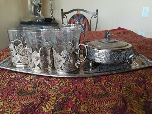 FABULOUS ANTIQUE PERSIAN SOLID SILVER TEA SET INCLUDING ORIGINAL GLASSES