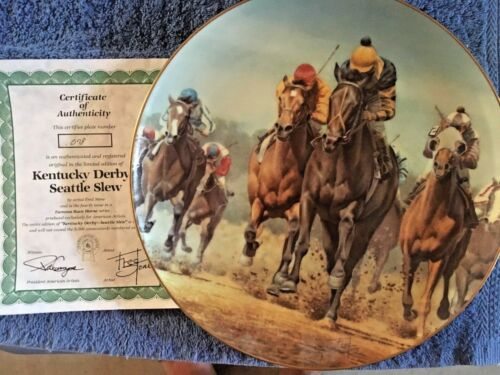 Race Horses Collector Plate Kentucky Derby Seattle Slew w/COA
