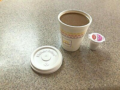 FISHER PRICE FUN FOOD McDONALDS ● RARE FILLED COFFEE HOT CHOCOLATE CUP + LID EXC