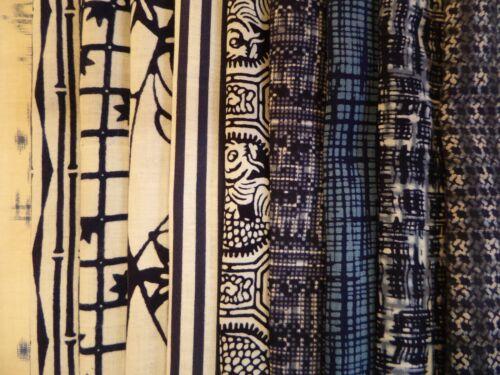 #12  Vintage Japanese Cotton Yukata Fabric Scrap Remnants, 10 Piece Bundle