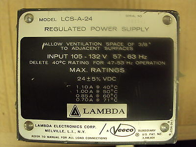 Dc Power Supply 24vdc 1.1 Amps105-132vac In Lambda Lcs-a24 Used Tested