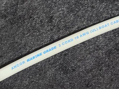 Ancor 16/2C Marine Grade Tinned Copper Flat Duplex Boat Cable (R+Y) White /25ft
