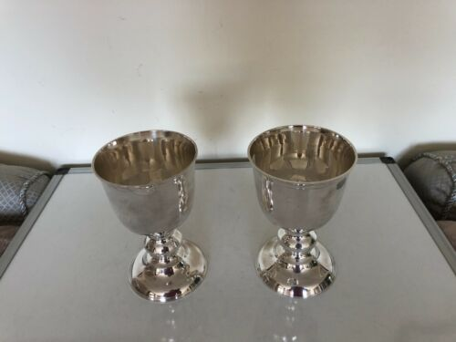 """GREAT PAIR OF LARGE AND HEAVY SILVER PLATED FOOTED CHALICES 6.75"""" TALL X 4"""" FOOT"""