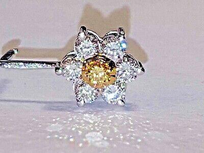 Diamond Accent Cluster Earrings (EUC 1.50 CT DIAMOND Cluster Flower Leverback Earrings 14K White Gold YG Accent )