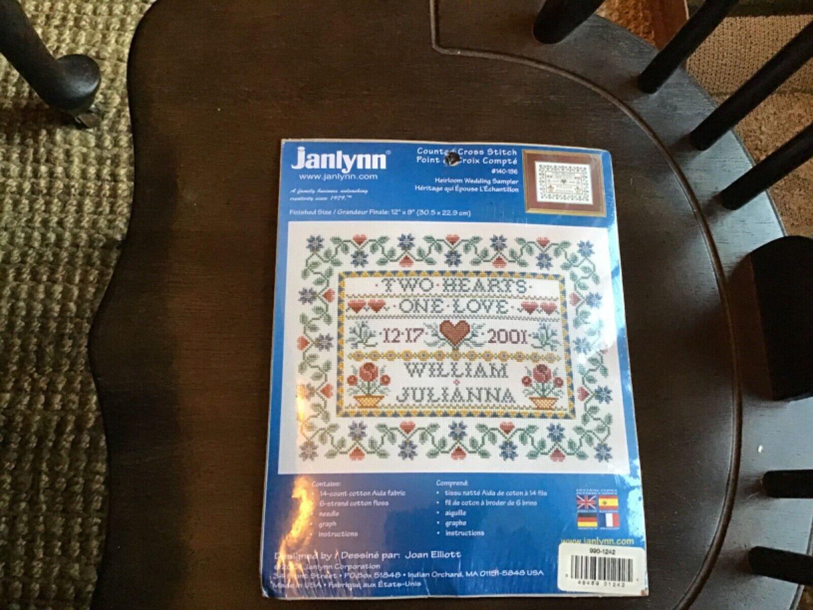 "Cross Stitch Kit Wedding Sampler 12"" x 9"" Heirloom Janlynn A"