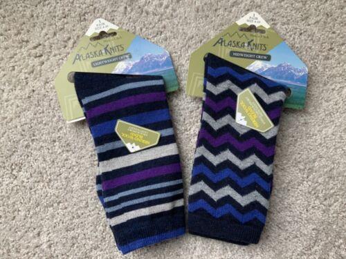 Hiking Socks Alaska Knits Women's 4-10 light & mid  crew wool blend support 2 pr