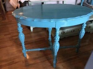 Bright blue accent hall table