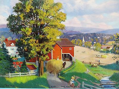 "Vintage 1949 Art Print Litho ""The American Way"" 5337 C. MOSS"