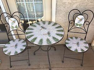 Mosaic dragon fly wrought iron patio set