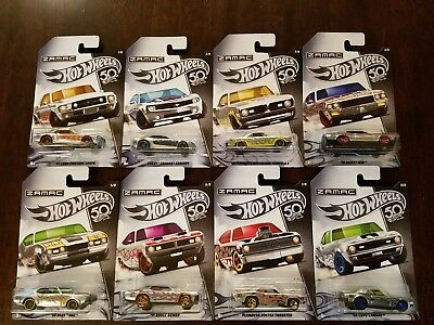 Hot Wheels 2018 50th Anniversary ZAMAC Flames Walmart Exclusive Set (Lot of 8)