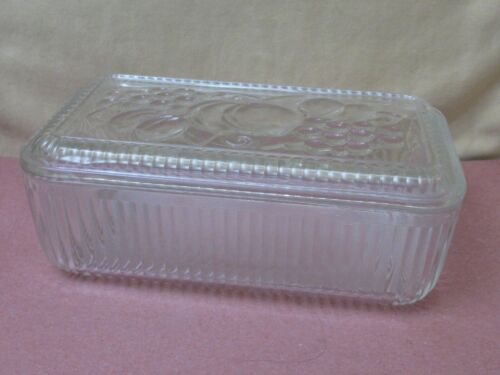 Vintage clear glass refrigerator dish- Fruit on lid