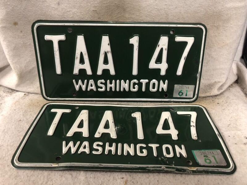 Vintage 1961 Washington License Plate Pair