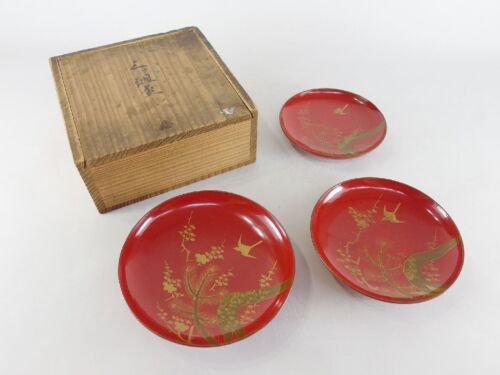 Japanese antique vintage gilt red lacquer wood triple Sakazuki Sake cups chacha