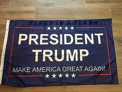 10 PRESIDENT TRUMP INAUGURATION FLAGS FLAG MAKE AMERICA GREAT AGAIN BLUE  DONALD