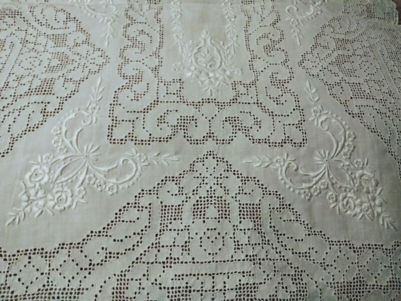 """Exquisite Appenzell or Madeira Embroidered and Punchwork Runner 42"""" by 16"""""""