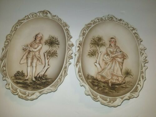 Vintage LEFTON China Hand Painted Wall Plaque Colonial Victorian KW115 Set