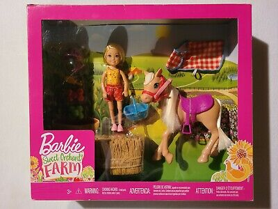 NIB Barbie Sweet Orchard Farm Chelsea doll, pony horse, & accessories