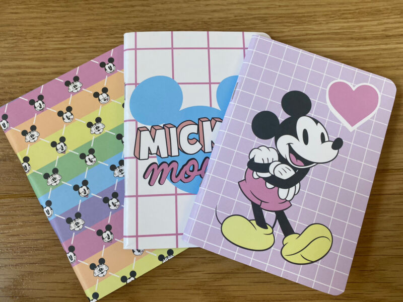 PRIMARK Disney Mickey Mouse 3 Pack Of Notebook Pads Stationary School Minnie