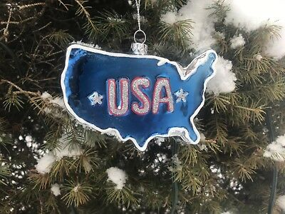 Patriotic USA Map GLASS Ornament Americana 4 x 2 Inches Christmas Decoration
