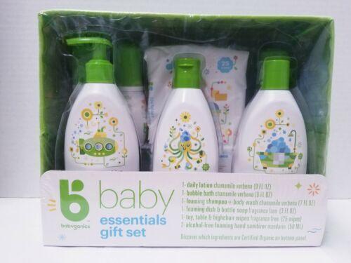 Babyganics Baby Essentials Gift Set Lotion Wipes Bubble Bath Soap Dish Sanitizer